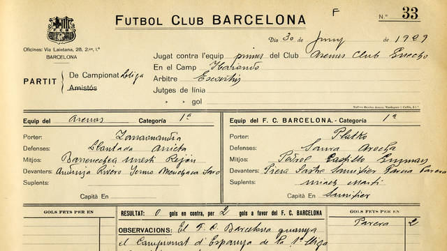 Picture of the official record of the final league match in 1929