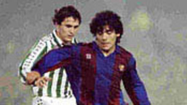 Photo of Maradona in action for Barcelona