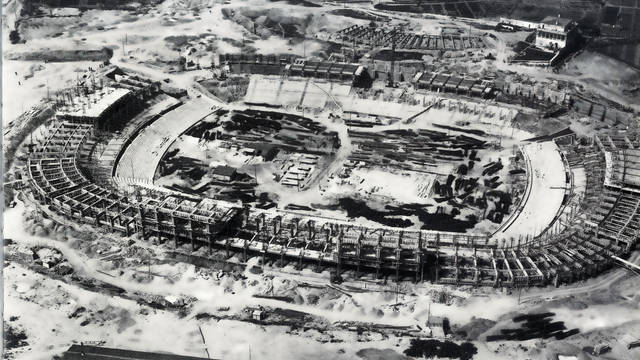 Overhead photo of the Camp Nou while it was under construction