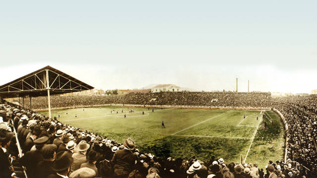 Historic image of the inauguration of Les Corts Stadium