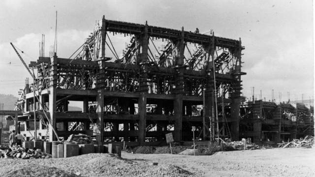 Photo of the early stages of the construction of the Camp Nou