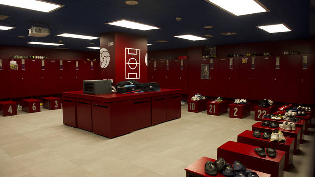 view inside the camp nou changing rooms