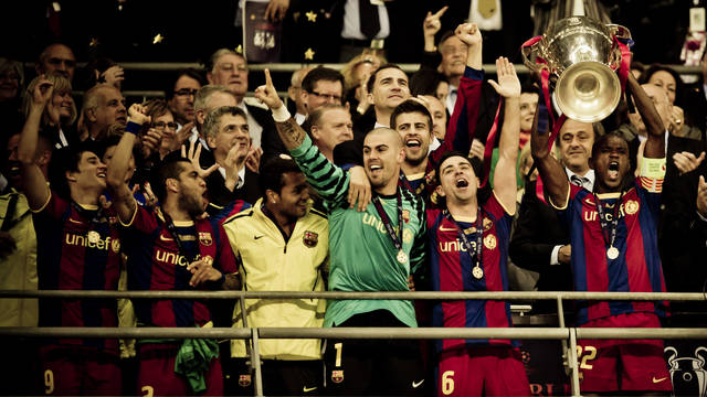 Picture of Barça and Guardiola celebrating the win in the European Cup Final at Wembley