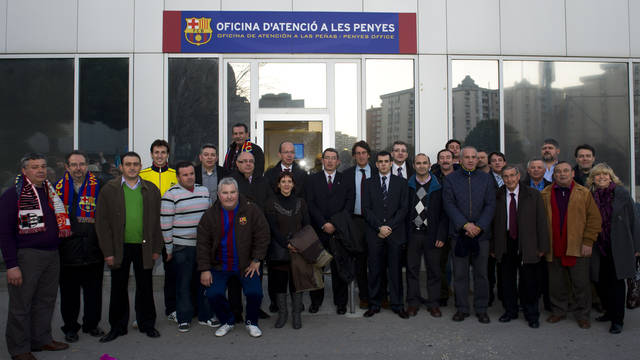 Members of the social commission in front of the Penyes Office