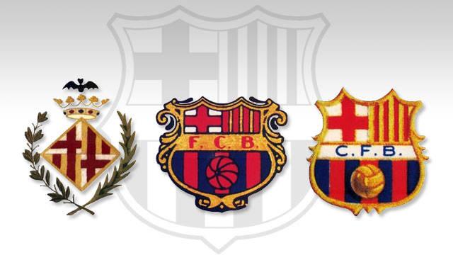 Imagen de tres escudos que han formado parte de la historia del FC Barcelona