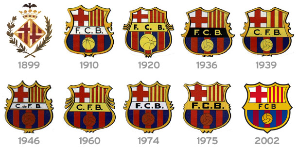Image showing different versions of the club crest over the years