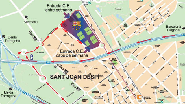 Map showing how to get to the Ciutat Esportiva training facility