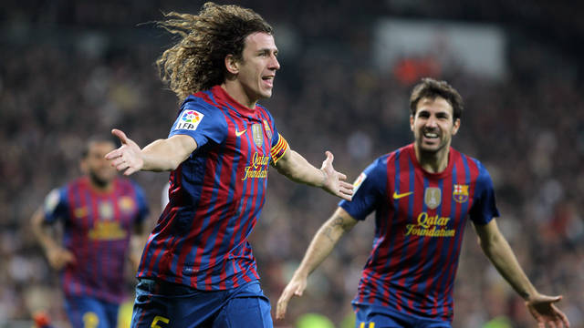 Puyol after scoring the equaliser at the Bernabéu / PHOTO: MIGUEL RUIZ-FCB