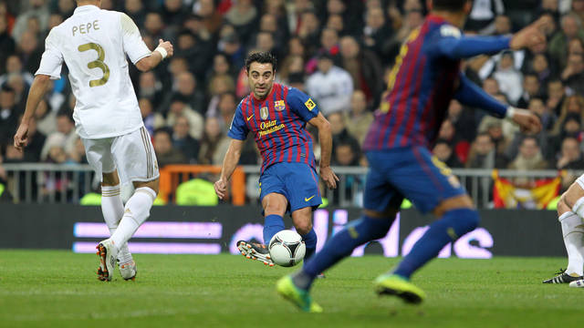 Xavi in the King's Cup match at the Bernabéu / PHOTO: MIGUEL RUIZ