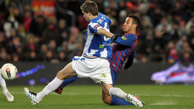 Thiago, contra la Reial Societat. FOTO: MIGUEL RUIZ-FCB. 