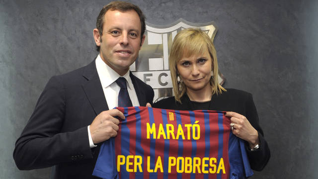 President Sandro Rosell and the Director of TV3 Mònica Terribas
