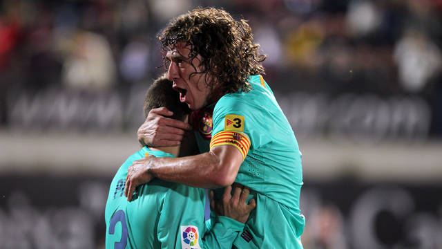 Piqué i Puyol celebren el segon gol a Mallorca (0-2) / FOTO: ARXIU FCB
