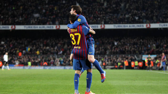 Messi celebra un dels seus gols amb Tello / FOTO: ARXIU FCB