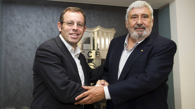 Sandro Rosell and Jaume Llaurad. PHOTO: LEX CAPARRS-FCB.