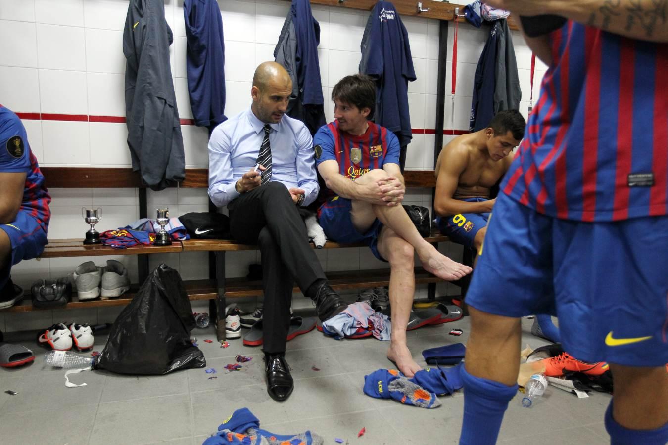 Guardiola i Messi, al vestidor