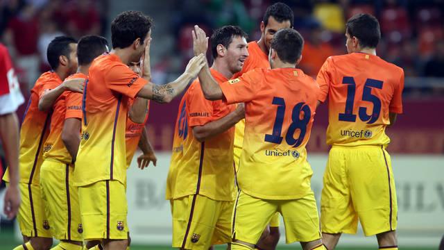 Leo Messi against Bucharest. PHOTO: MIGUEL RUIZ- FCB.