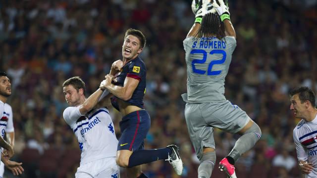 Fontàs, contra la Sampdoria. FOTO: ÀLEX CAPARRÓS-FCB.