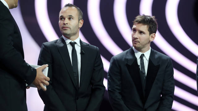 Iniesta and Messi during the UEFA Gala in Monaco/ PHOTO: ARCHIVE FCB