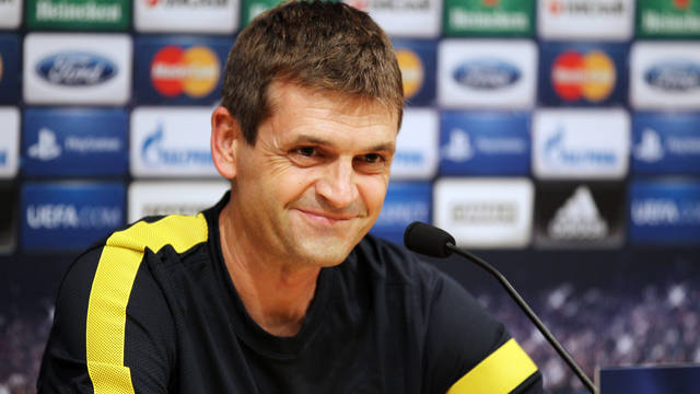 Vilanova in the pre-match press confrence before tomorrow's game against Spartak. PHOTO: MIGUEL RUIZ-FCB.