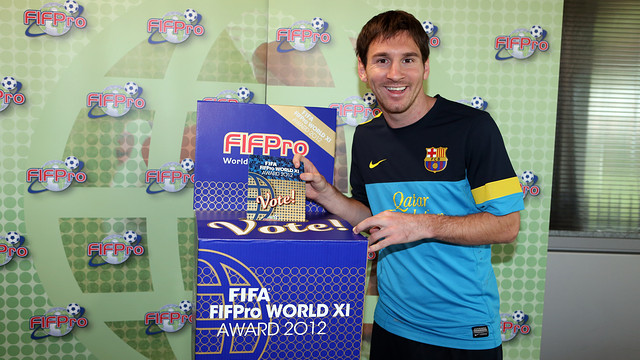 Messi voting for the World XI team for FIFA/FIFPro 2012. PHOTO: MIGUEL RUIZ-FCB.
