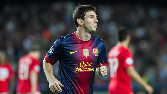 Messi, contra l'Spartak de Moscou. FOTO: ÀLEX CAPARRÓS-FCB.