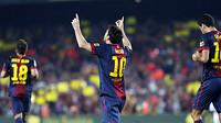 Messi celebrates his goal against Real Madrid / PHOTO: MIGUEL RUIZ