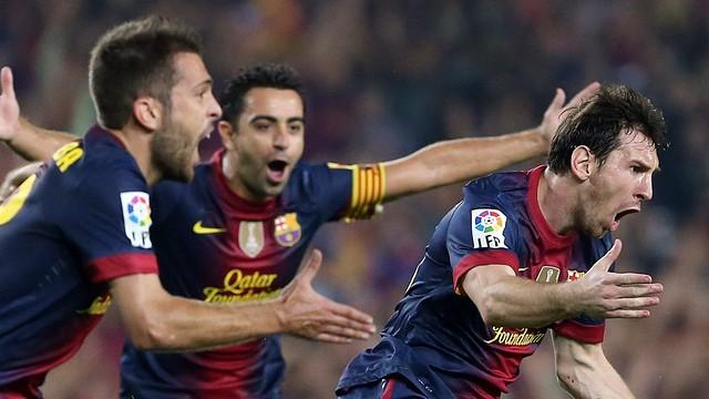 Messi celebrates his second goal / PHOTO: MIGUEL RUIZ - FCB