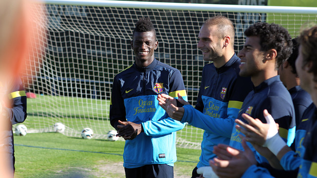 Edgar Ié training with Barça B this Tuesday / PHOTO: MIGUEL RUIZ-FCB