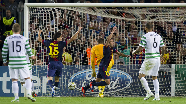 Jordi Alba's goal against Celtic Glasgow. PHOTO: ÀLEX CAPARRÓS-FCB.