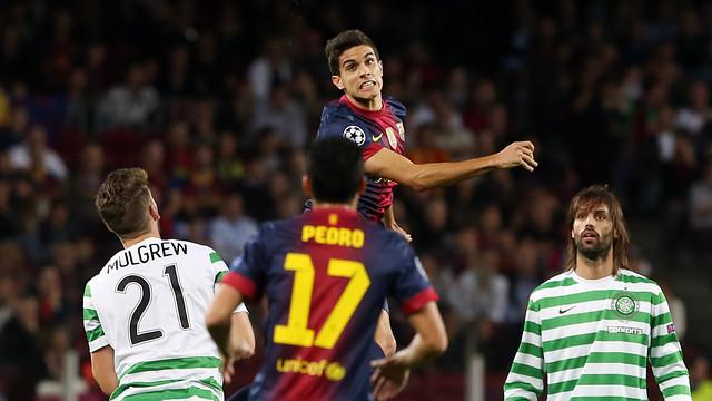 Marc Bartra, en una acció del partit contra el Celtic / FOTO: MIGUEL RUIZ - FCB