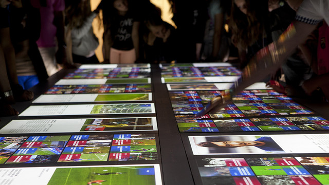 View of the interactive tables where you can touch and remember the greatest moments of the club