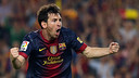 Messi après un de ses buts / Photo Miguel Ruiz