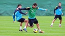 Xavi and Messi durring a training session / PHOTO: ARXIU - FCB