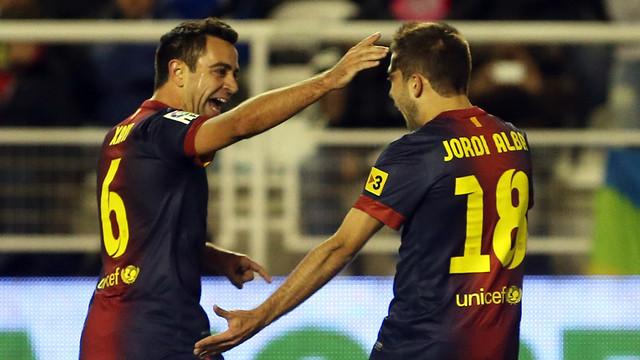 Xavi i Jordi Alba, a Vallecas. FOTO: MIGUEL RUIZ-FCB.