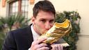 Messi, amb la Bota d'Or. FOTO: MIGUEL RUIZ-FCB.