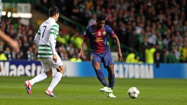 Song, davant Miku (Celtic). FOTO: MIGUEL RUIZ-FCB.