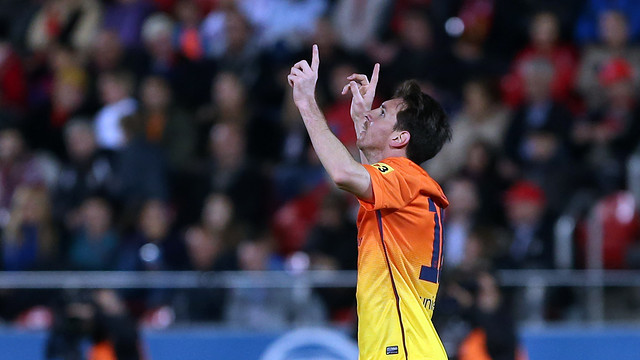 Messi celebrates one of his goals in Mallorca / FOTO: MIGUEL RUIZ-FCB