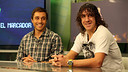 Carles Puyol al plató de Barça TV. Al seu costat, Fernando Belasteguin / FOTO: MIGUEL RUIZ - FCB