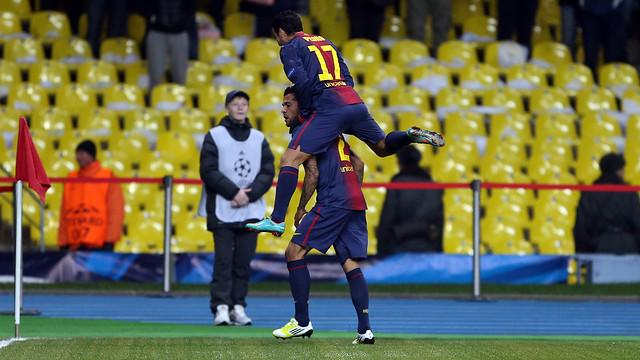 Alves no marcava des del 26 de febrer, a camp de l'Atlètic de Madrid / FOTO: MIGUEL RUIZ-FCB
