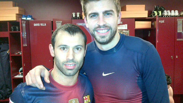 Javier Mascherano and Gerard Piqué / PHOTO: @MASCHERANO