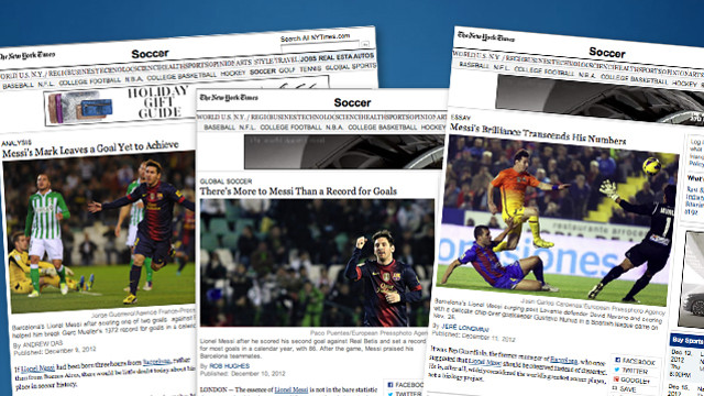 Lionel Messi, three articles at The New York Times