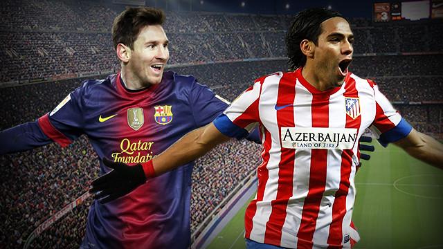 Fotomuntatge entre Messi i Falcao. FOTOS: ARXIU FCB I clubatleticodemadrid.com