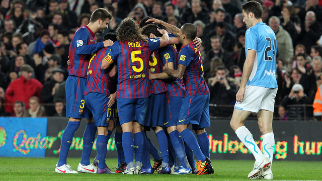 The team celebrates one of the goals against Osasuna (4-0) on January 2, 2012 | FOTO: ARXIU FCB