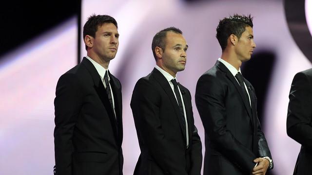 Messi i Iniesta, finalistes a la FIFA Pilota d'Or 2012 al costat de Cristiano Ronaldo / FOTO: MIGUEL RUIZ - FCB