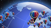 Illustration with the world globe with Barcelona shields, each one representing a supporters club