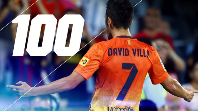 Villa plays his 100th game for Barça