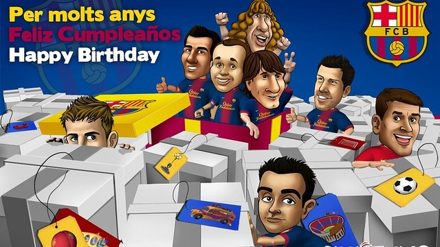 Cartoon promotion of the Barça players inviting you to come to the ice rink for your birthday