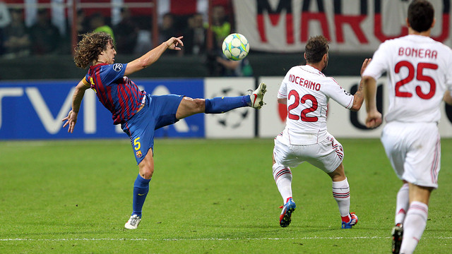 Puyol against AC Milan / PHOTO: MIGUEL RUIZ-FCB