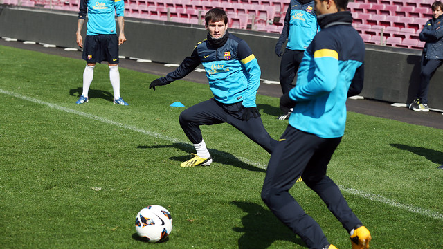 Xavi and Messi training in the Camp Nou / PHOTO: MIGUEL RUIZ – FCB