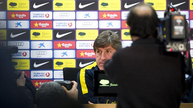 Jordi Roura, a la sala de premsa de la Ciutat Esportiva / FOTO: ÀLEX CAPARRÓS - FCB
